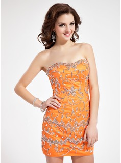 Sheath Sweetheart Short/Mini Charmeuse Cocktail Dress With Beading