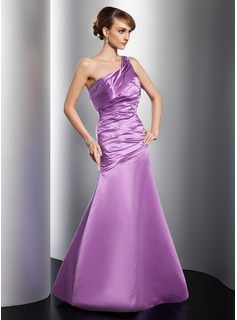 A-Line/Princess One-Shoulder Floor-Length Satin Evening Dress With Ruffle