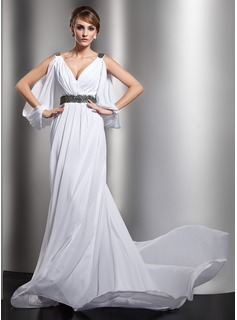 Sheath/Column V-neck Court Train Chiffon Wedding Dress With Ruffle Beadwork (002012610)