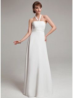Empire Halter Floor-Length Chiffon Charmeuse Wedding Dress With Ruffle