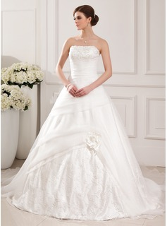 Ball-Gown Strapless Chapel Train Organza Charmeuse Wedding Dress With Lace Beadwork