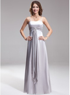 A-Line/Princess Sweetheart Floor-Length Chiffon Charmeuse Bridesmaid Dress With Sash