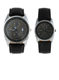Fashional Leatherette Metal Couples' Watches