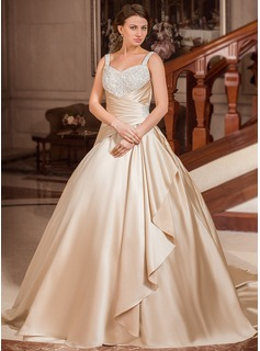Ball-Gown Sweetheart Court Train Satin Wedding Dress With Lace Beading Cascading Ruffles