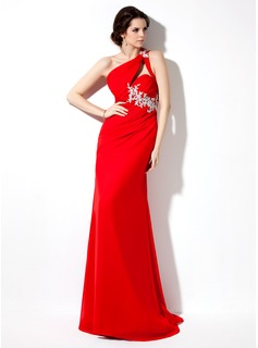 Sheath One-Shoulder Sweep Train Chiffon Evening Dress With Ruffle Beading Appliques