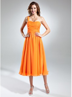 A-Line/Princess One-Shoulder Tea-Length Chiffon Homecoming Dress With Ruffle (022015510)