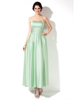 Empire Sweetheart Ankle-Length Satin Bridesmaid Dress With Ruffle