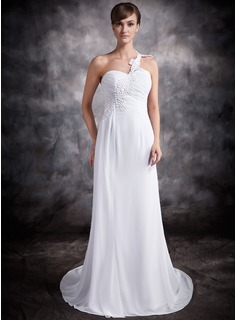 A-Line/Princess One-Shoulder Chapel Train Chiffon Wedding Dress With Ruffle Appliques