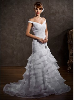 Trumpet/Mermaid Off-the-Shoulder Court Train Organza Satin Wedding Dress With Lace Beading Cascading Ruffles