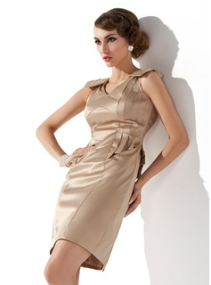 Sheath V-neck Short/Mini Satin Cocktail Dress