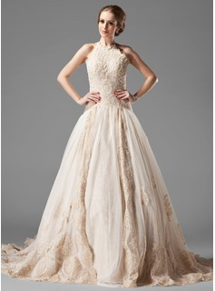 A-Line/Princess Halter Chapel Train Satin Tulle Wedding Dress With Lace Beadwork (002000154)