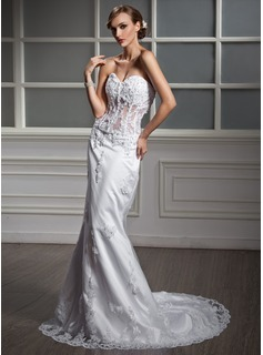 Mermaid Sweetheart Court Train Satin Tulle Wedding Dress With Lace Beadwork (002011377)