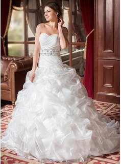 Ball-Gown Sweetheart Chapel Train Taffeta Organza Wedding Dress With Ruffle Lace Beadwork Sequins
