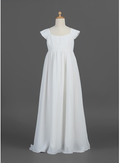 A-Line/Princess Scoop Neck Floor-Length Chiffon Flower Girl Dress With Ruffle (010007293)