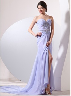 Sheath Sweetheart Watteau Train Chiffon Evening Dress With Ruffle Beading
