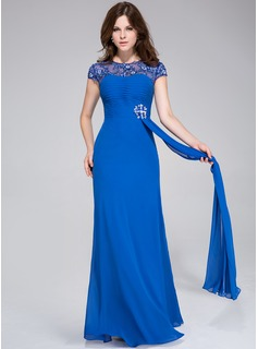 A-Line/Princess Scoop Neck Floor-Length Chiffon Tulle Evening Dress With Ruffle Lace Beading