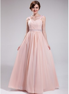 A-Line/Princess Sweetheart Floor-Length Chiffon Prom Dress With Ruffle Lace Beading Sequins