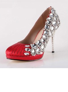 Women's Satin Cone Heel Closed Toe Platform Pumps With Rhinestone Sparkling Glitter Crystal Heel (047031211)