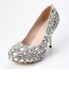 Women's Satin Cone Heel Closed Toe Platform Pumps With Rhinestone Crystal Heel (047033920)