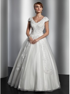 A-Line/Princess V-neck Floor-Length Satin Tulle Wedding Dress With Lace Sequins
