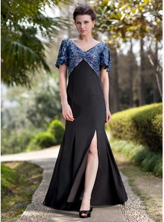 Trumpet/Mermaid V-neck Floor-Length Chiffon Sequined Mother of the Bride Dress With Ruffle Split Front