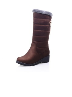 Suede Low Heel Mid-Calf Boots Snow Boots With Chain shoes