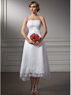 A-Line/Princess Sweetheart Asymmetrical Organza Satin Wedding Dress With Lace Beadwork Sequins
