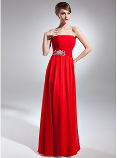A-Line/Princess Strapless Floor-Length Chiffon Mother of the Bride Dress With Ruffle Sequins