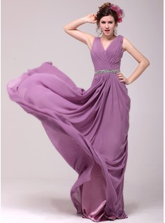 A-Line/Princess V-neck Sweep Train Chiffon Evening Dress With Ruffle Beading (017014010)