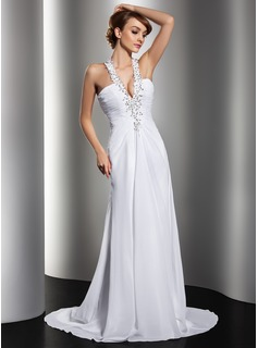 Sheath/Column Halter Sweep Train Chiffon Wedding Dress With Ruffle Lace Beadwork Sequins