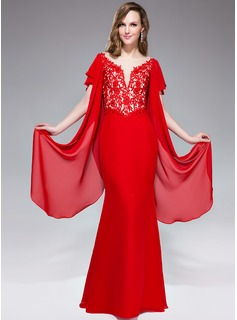 Trumpet/Mermaid V-neck Floor-Length Chiffon Tulle Lace Evening Dress With Beading Sequins Cascading Ruffles