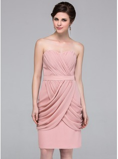 Sheath Sweetheart Knee-Length Chiffon Bridesmaid Dress With Ruffle