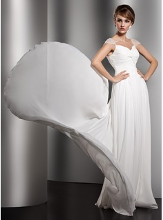 A-Line/Princess V-neck Watteau Train Chiffon Evening Dress With Ruffle Beading (017005601)