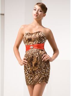 Sheath Strapless Short/Mini Charmeuse Cocktail Dress With Sash Crystal Brooch