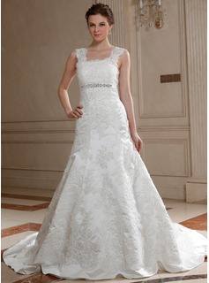 A-Line/Princess Square Neckline Chapel Train Satin Tulle Wedding Dress With Lace Beadwork