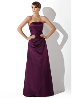 Sheath Strapless Floor-Length Satin Bridesmaid Dress With Ruffle Beading
