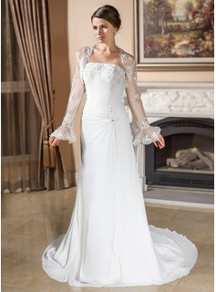 A-Line/Princess Strapless Court Train Chiffon Wedding Dress With Ruffle Lace Beadwork