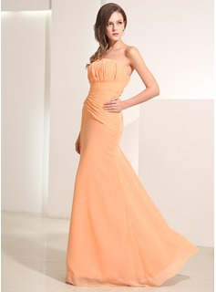 Mermaid Strapless Floor-Length Chiffon Holiday Dress With Ruffle (020014195)