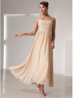 A-Line/Princess Scoop Neck Ankle-Length Chiffon Holiday Dress With Ruffle Beading (020014439)