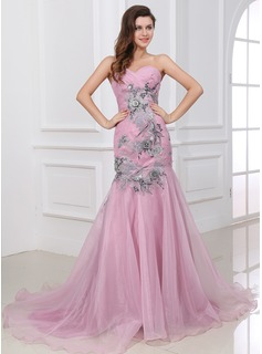 Mermaid One-Shoulder Court Train Organza Evening Dress With Ruffle Lace