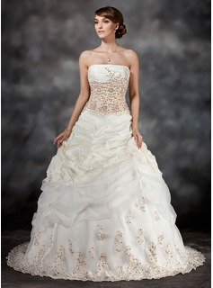 Ball-Gown Strapless Chapel Train Taffeta Organza Wedding Dress With Ruffle Lace Sequins (002017434)