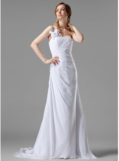 A-Line/Princess One-Shoulder Court Train Chiffon Wedding Dress With Ruffle Beadwork Flower(s)
