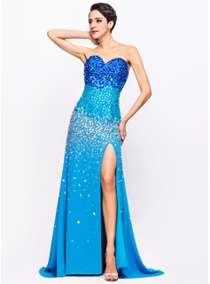 Trumpet/Mermaid Sweetheart Sweep Train Chiffon Prom Dress With Beading Split Front