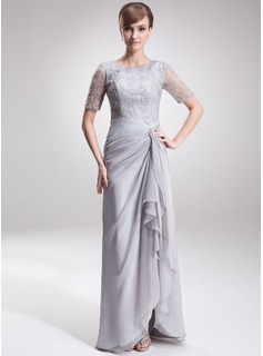 A-Line/Princess Scoop Neck Asymmetrical Chiffon Lace Mother of the Bride Dress With Ruffle