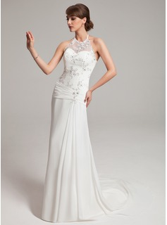 Sheath/Column Halter Watteau Train Chiffon Tulle Wedding Dress With Ruffle Lace Beadwork (002011453)