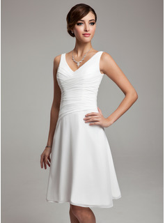 A-Line/Princess V-neck Knee-Length Chiffon Bridesmaid Dress With Ruffle Beading (007001083)