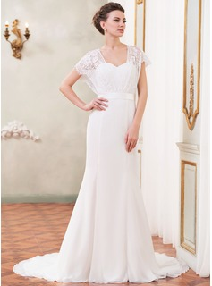 Trumpet/Mermaid Sweetheart Court Train Chiffon Charmeuse Lace Wedding Dress With Beading Sequins Bow(s)