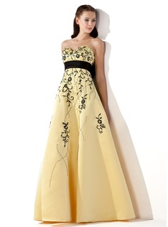 Empire Sweetheart Floor-Length Satin Prom Dress With Embroidered Sash Beading