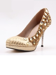 Women's Satin Cone Heel Closed Toe Platform Pumps With Rhinestone Sparkling Glitter Crystal Heel