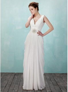 Sheath V-neck Floor-Length Chiffon Evening Dress With Ruffle Beading